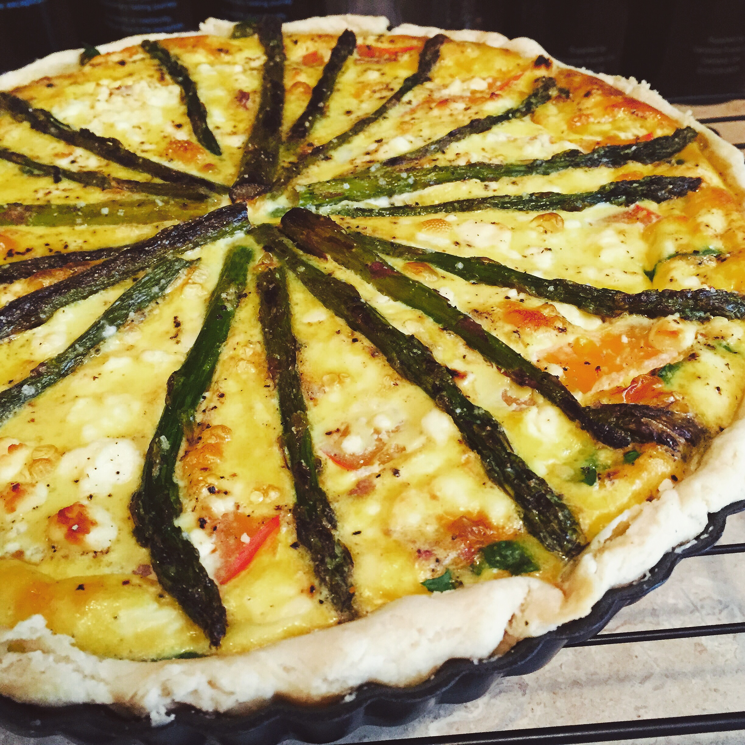 Asparagus, Bacon and Feta Quiche with Olive Oil Infused Crust