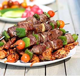 Chipotle Mango Beef & Veggie Shish Kababs