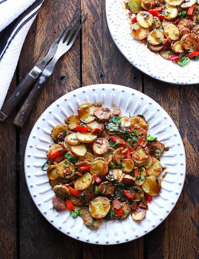 Sauteed Potato Salad with Balsamic Maple Dressing