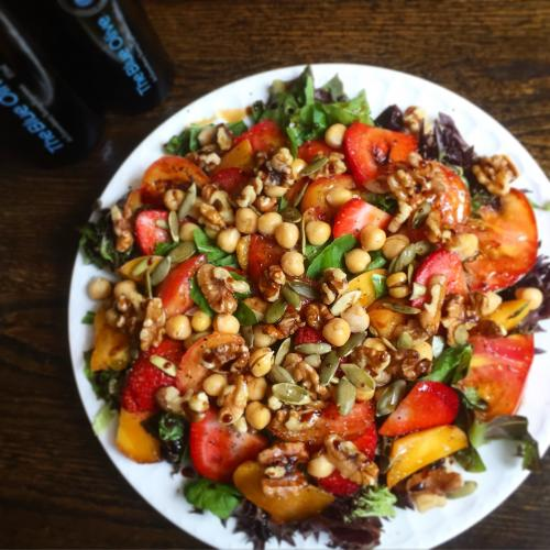 End-of-summer Produce Salad with Roasted Walnut Oil Dressing